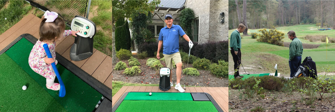 Home Use - Webpage - Power Tee, Home Use, platform, custom, golf mat, mat, driving range, golf range, practice, golfer, sport, leisure, tee, tee heights, automation, practice aid, training aid, golf industry, indoors, indoor simulator, strike mat, control panel, tech, technology, game